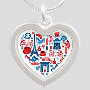 France World Cup 2014 Heart Silver Heart Necklace