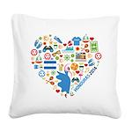 Honduras World Cup 2014 Heart Square Canvas Pillow