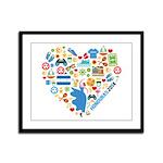 Honduras World Cup 2014 Heart Framed Panel Print