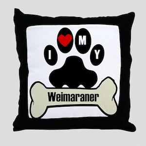 I Heart My Weimaraner Throw Pillow