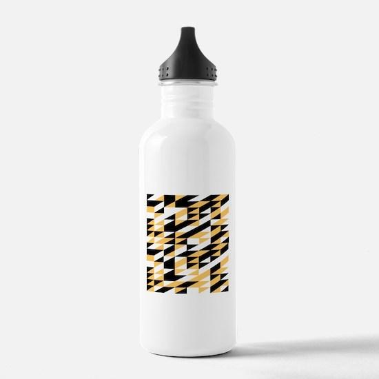 Mustard and black retro geometric Water Bottle