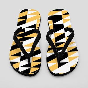 Mustard and black retro geometric Flip Flops