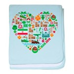 Iran World Cup 2014 Heart baby blanket