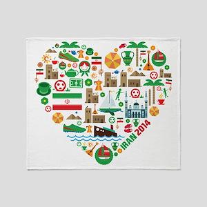 Iran World Cup 2014 Heart Throw Blanket