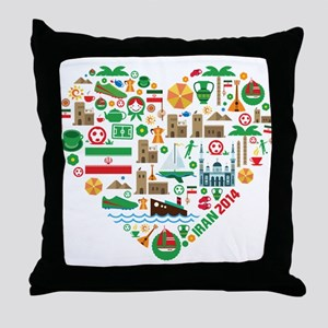 Iran World Cup 2014 Heart Throw Pillow