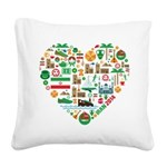 Iran World Cup 2014 Heart Square Canvas Pillow