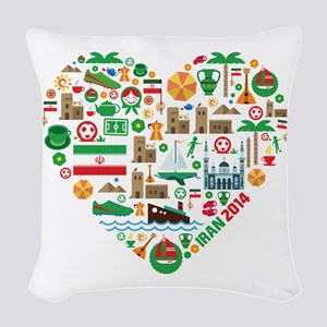 Iran World Cup 2014 Heart Woven Throw Pillow