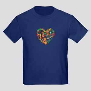 Nigeria World Cup 2014 Heart Kids Dark T-Shirt