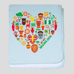 Nigeria World Cup 2014 Heart baby blanket