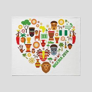 Nigeria World Cup 2014 Heart Throw Blanket