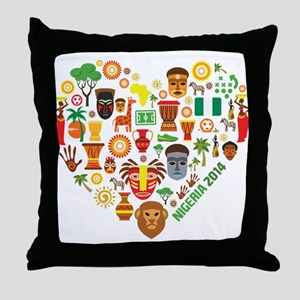 Nigeria World Cup 2014 Heart Throw Pillow