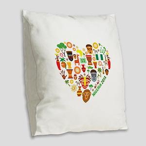 Nigeria World Cup 2014 Heart Burlap Throw Pillow