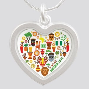 Nigeria World Cup 2014 Heart Silver Heart Necklace
