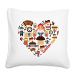 Germany World Cup 2014 Heart Square Canvas Pillow