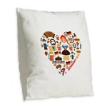 Germany World Cup 2014 Heart Burlap Throw Pillow