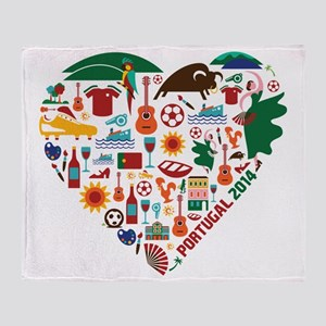 Portugal World Cup 2014 Heart Throw Blanket