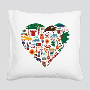 Portugal World Cup 2014 Heart Square Canvas Pillow