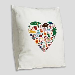 Portugal World Cup 2014 Heart Burlap Throw Pillow