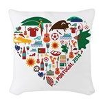 Portugal World Cup 2014 Heart Woven Throw Pillow