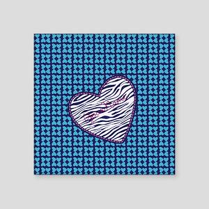 Hearts and Zebra Pattern Heart Sticker