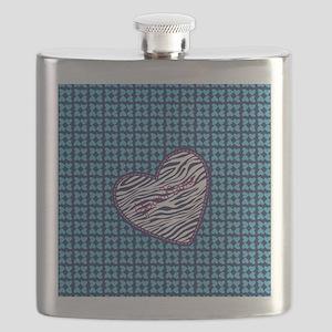 Hearts and Zebra Pattern Heart Flask