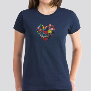 Belgium World Cup 2014 Heart Women's Dark T-Shirt