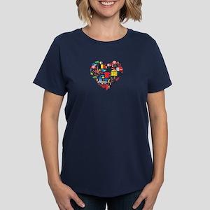 Belgium World Cup 2014 Heart Women's Dark T-Shirt