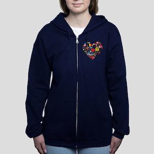 Belgium World Cup 2014 Heart Women's Zip Hoodie