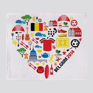 Belgium World Cup 2014 Heart Throw Blanket