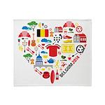 Belgium World Cup 2014 Heart Throw Blanket