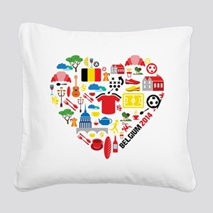 Belgium World Cup 2014 Heart Square Canvas Pillow