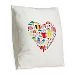 Belgium World Cup 2014 Heart Burlap Throw Pillow