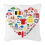 Belgium World Cup 2014 Heart Woven Throw Pillow