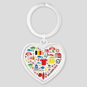 Belgium World Cup 2014 Heart Heart Keychain