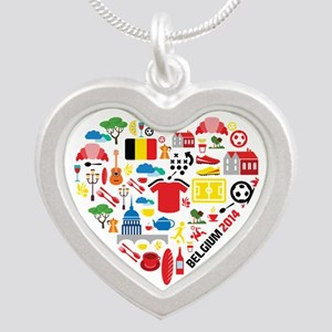 Belgium World Cup 2014 Heart Silver Heart Necklace