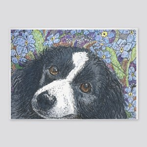 Forget me not Border Collie 5'x7'Area Rug