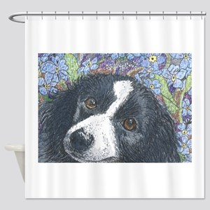 Forget me not Border Collie Shower Curtain