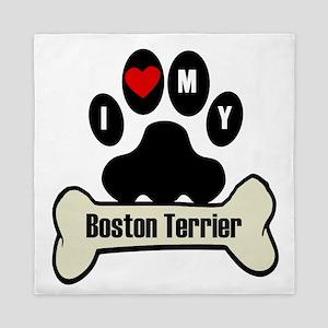 I Heart My Boston Terrier Queen Duvet