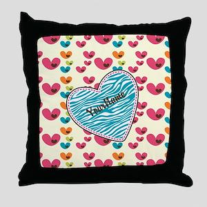 Lollipop Candy Monogram Hearts Throw Pillow