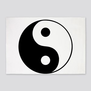 Black and White Yin and Yang 5'x7'Area Rug