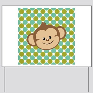 Monkey on Green Polka Dots Yard Sign