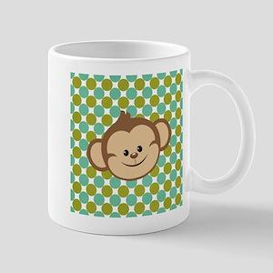Monkey on Green Polka Dots Mugs