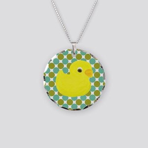 Rubber Duck on Green Polka Dots Necklace