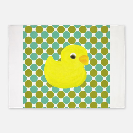 Rubber Duck on Green Polka Dots 5'x7'Area Rug