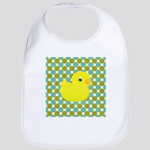 Rubber Duck on Green Polka Dots Bib
