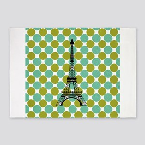 Eiffel Tower on Blue and Green Polka Dots 5'x7'Are