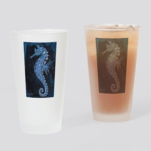 Blue Seahorse Drinking Glass