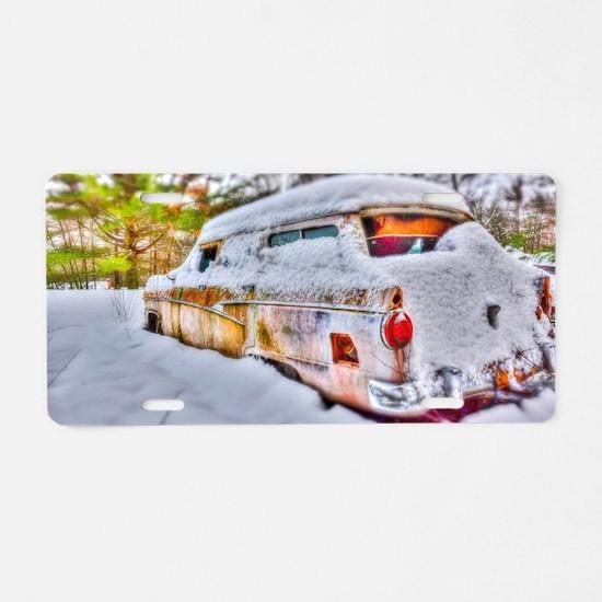 Snowed in Aluminum License Plate