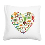 Algeria World Cup 2014 Heart Square Canvas Pillow