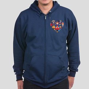 Russia World Cup 2014 Heart Zip Hoodie (dark)